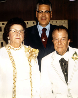 Group portrait of Dr. Richard Gohl and Dr. and Mrs. Clarence Gonstead